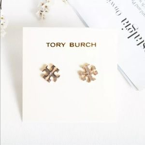 Tory Burch Small Logo Stud Rose Gold Earrings